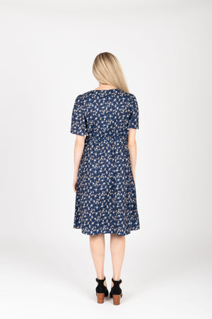 Piper & Scoot: The Marleigh Floral Wrap Dress in Navy, studio shoot; back view