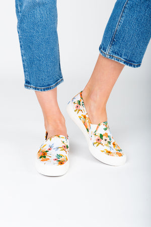 Keds: Rifle Paper Co. Double Decker Sneaker in Lovely White