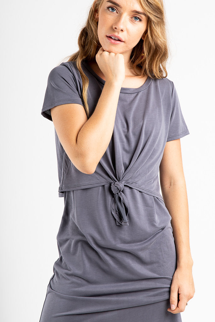 The Crystal Knot Dress in Slate