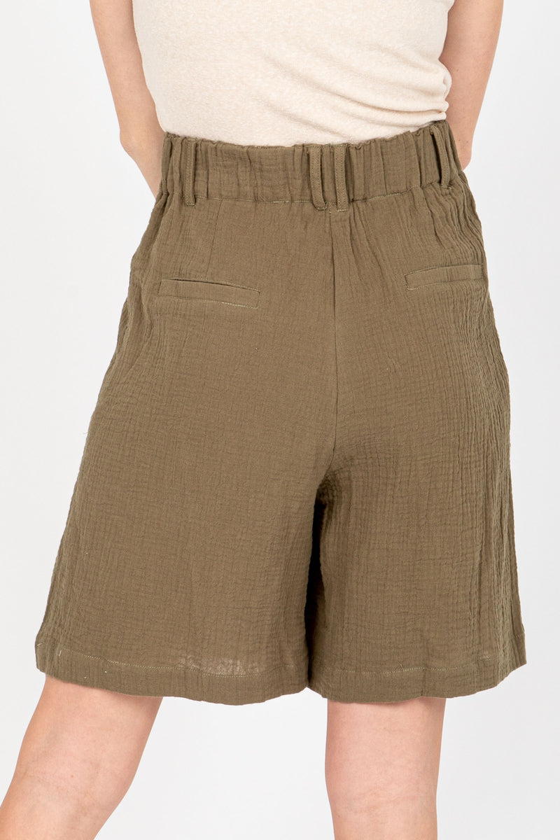 The Berry High Rise Short in Olive, studio shoot; back view