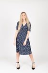 Piper & Scoot: The Marleigh Floral Wrap Dress in Navy, studio shoot; front view