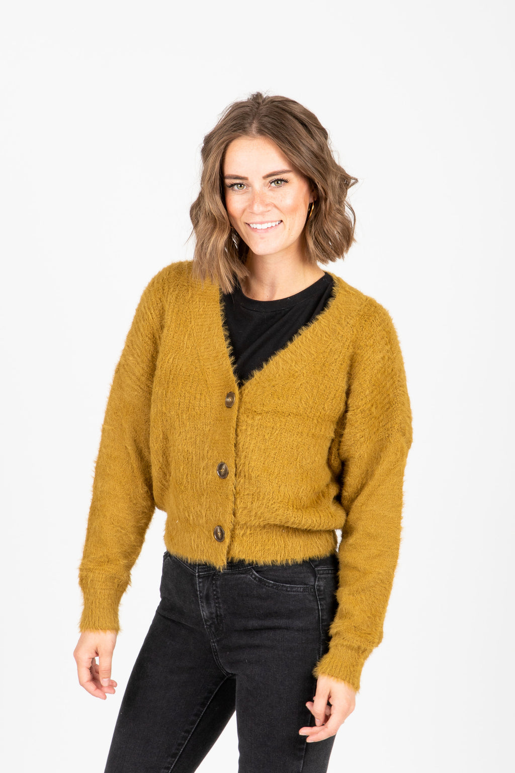 The Yardley Cozy Button Cardigan in Moss, studio shoot; front view