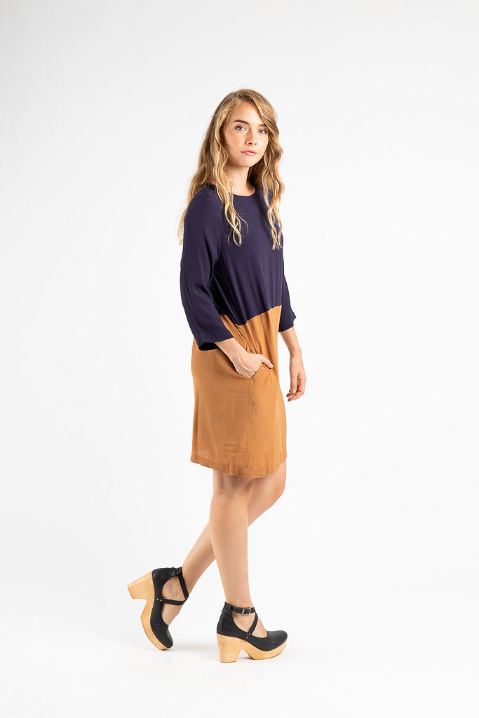 The Parsons Colorblock Dress in Camel + Navy
