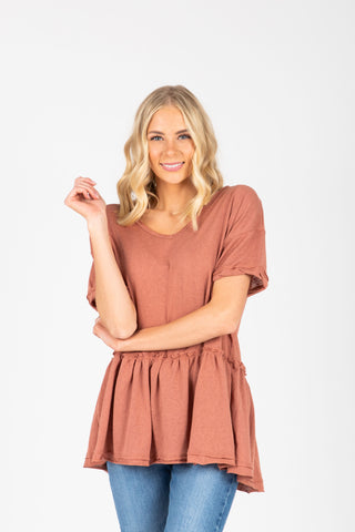The Ruth Striped Puff Sleeve Blouse in Taupe