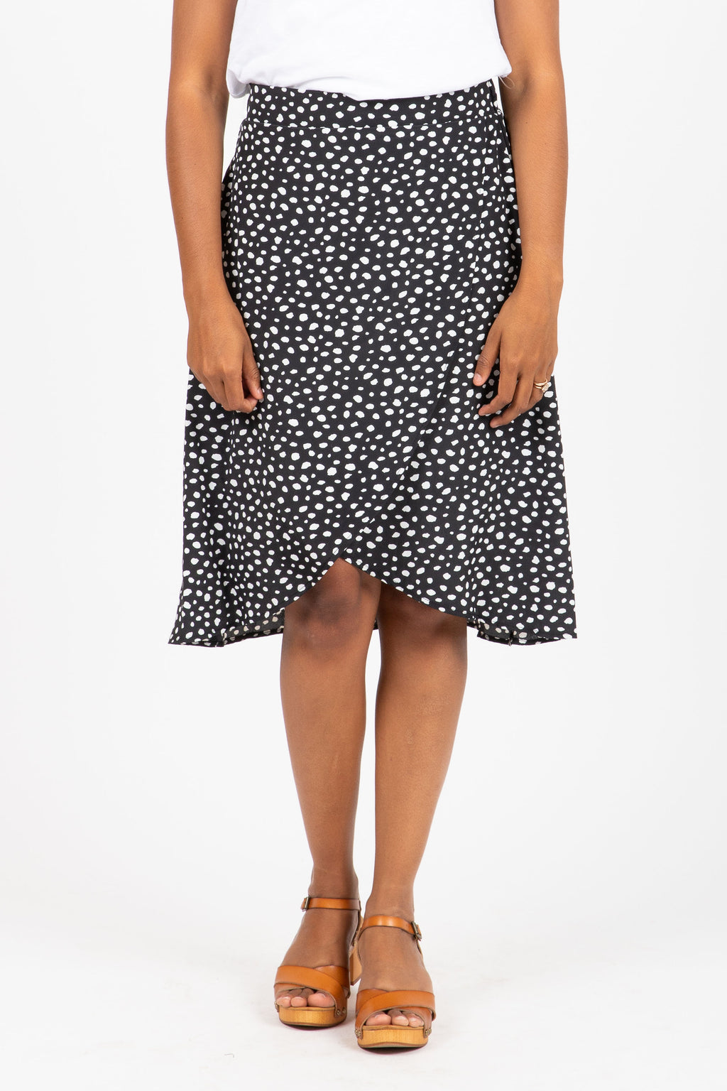 The Denny Wrap Print Skirt in Black
