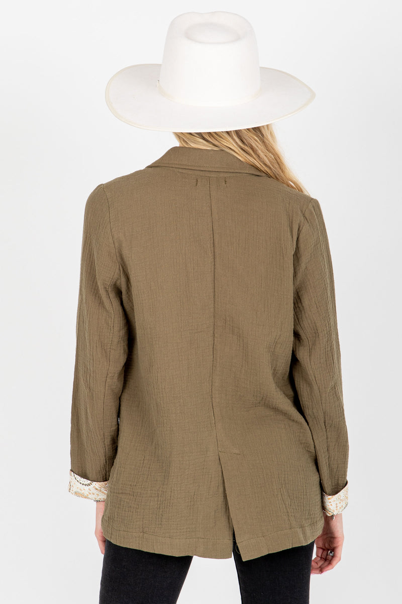 The Halle Relaxed Button Up Blazer in Olive, studio shoot; back view