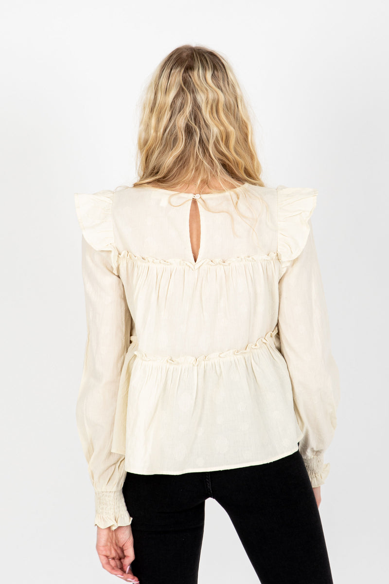The Emilia Ruffle Detail Blouse in Cream, studio shoot; back view