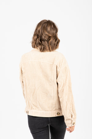 The Turner Corduroy Button Jacket in Beige, studio shoot, back view
