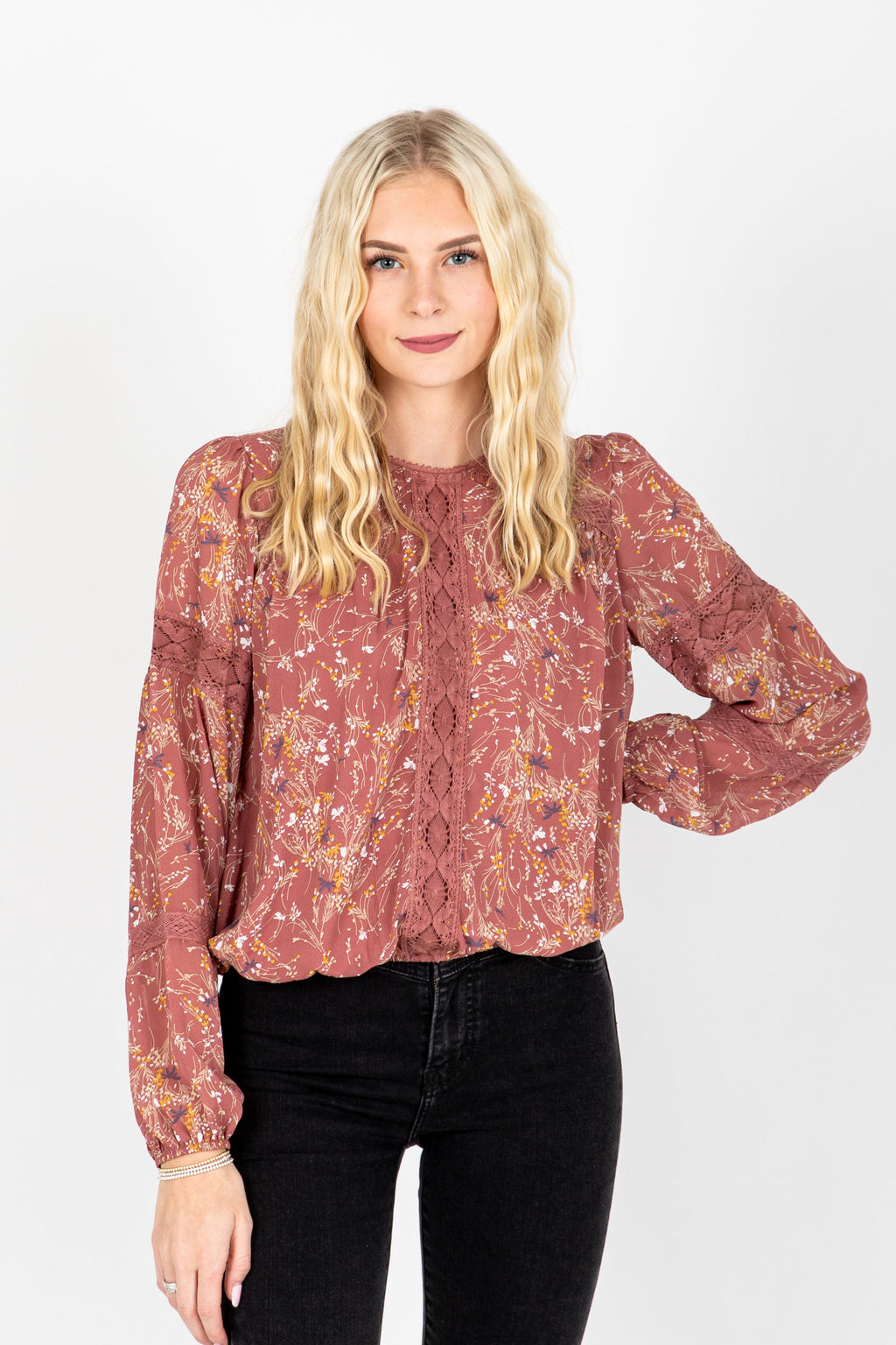 The Julian Lace Detail Blouse in Dusty Rose, studio shoot; front view