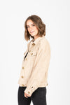The Turner Corduroy Button Jacket in Beige, studio shoot, side view