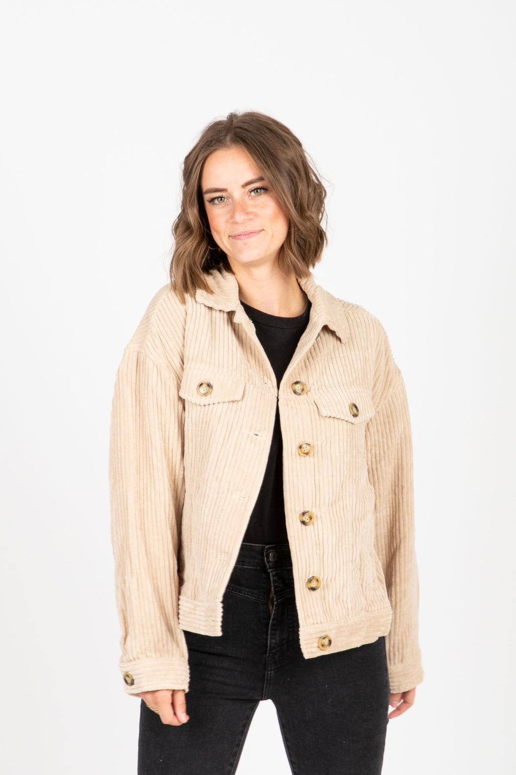 The Turner Corduroy Button Jacket in Beige, studio shoot, front view