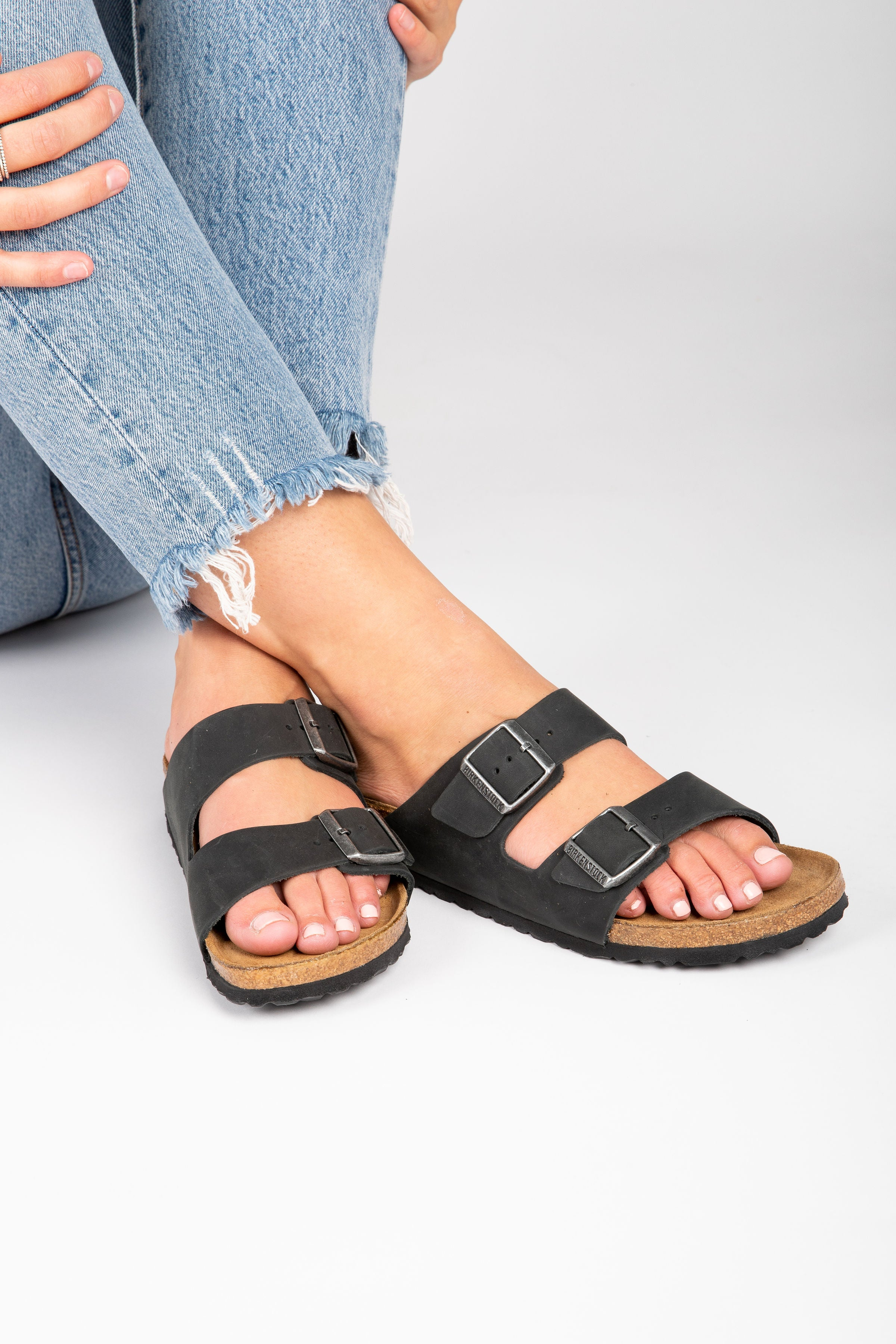 Birkenstock: Arizona Oiled Nubuck Leather Soft Footbed in Black (Narrow Fit)