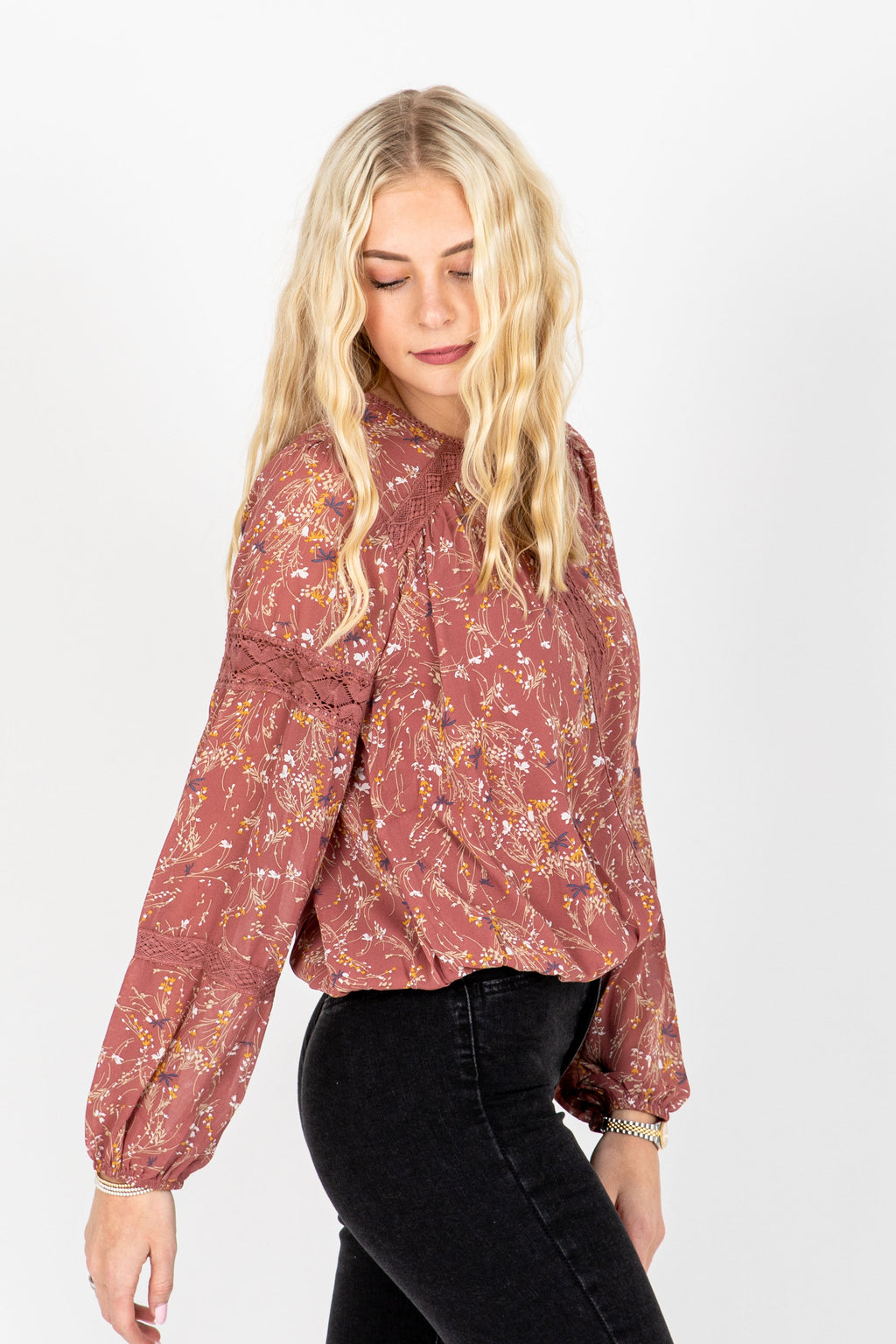 The Julian Lace Detail Blouse in Dusty Rose, studio shoot; side view