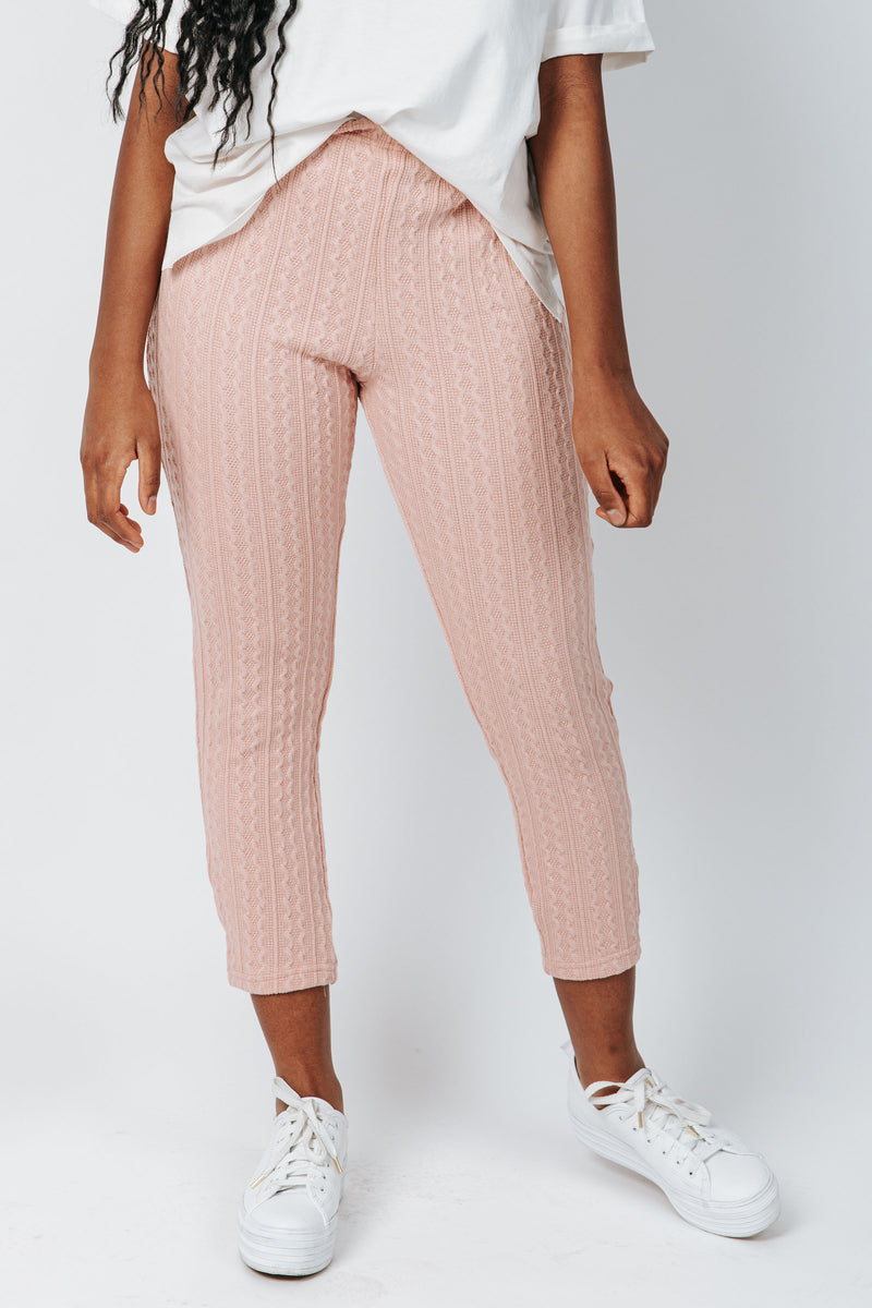 The McGuire Knit Pant in Dusty Pink, studio shoot; front view