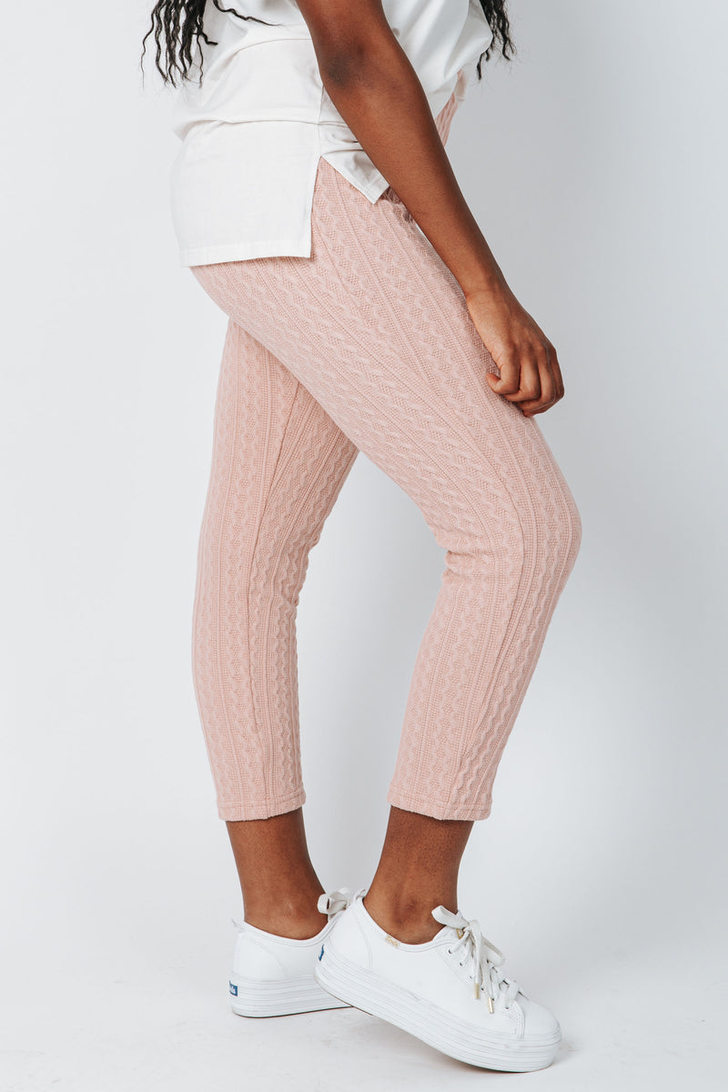 The McGuire Knit Pant in Dusty Pink, studio shoot; side view