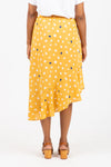 The Bryce A-Line Ruffle Skirt in Mustard