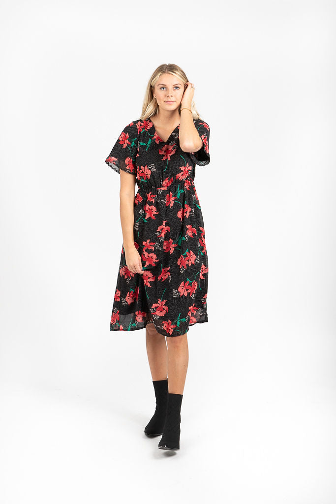 Piper & Scoot: The District Floral Empire Dress in Black