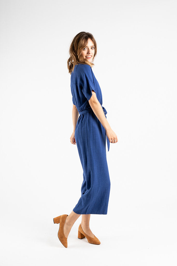 The Wyoming Wrap Jumpsuit in Blue