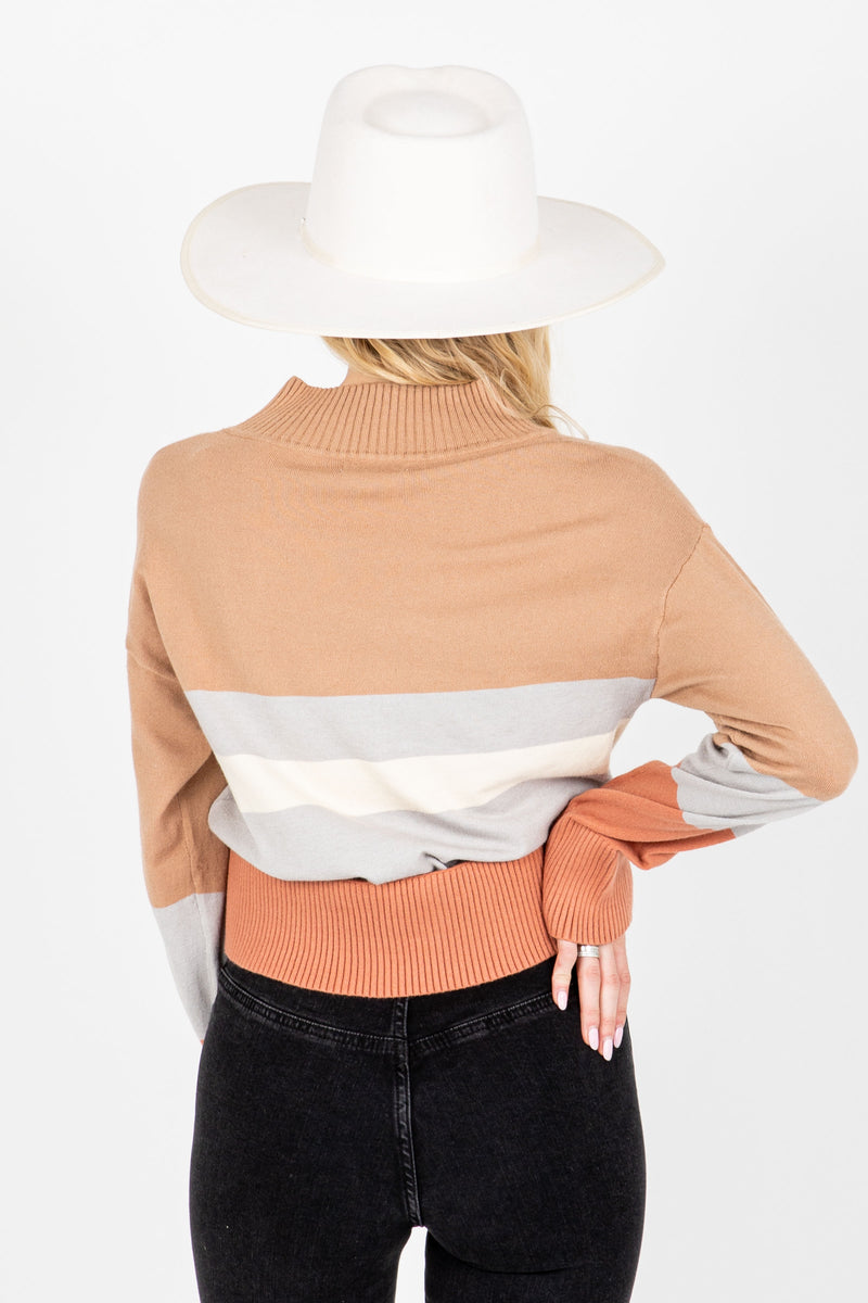 The Bob Striped Mock Neck Sweater in Taupe, studio shoot; back view