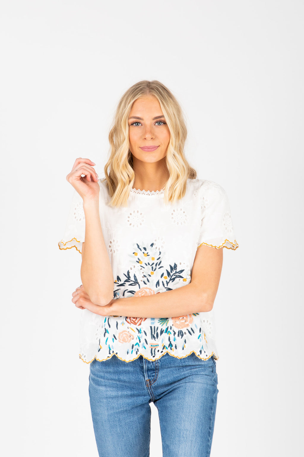 The Alessia Embroidered Scallop Blouse in White