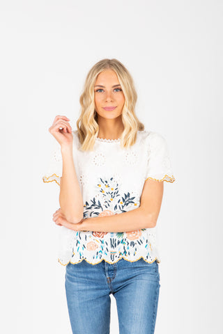 The Alisha Detail Blouse in Ivory