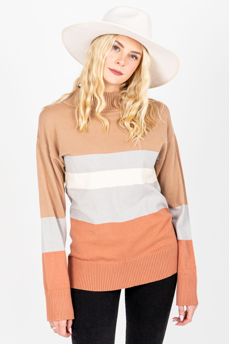 The Bob Striped Mock Neck Sweater in Taupe, studio shoot; front view