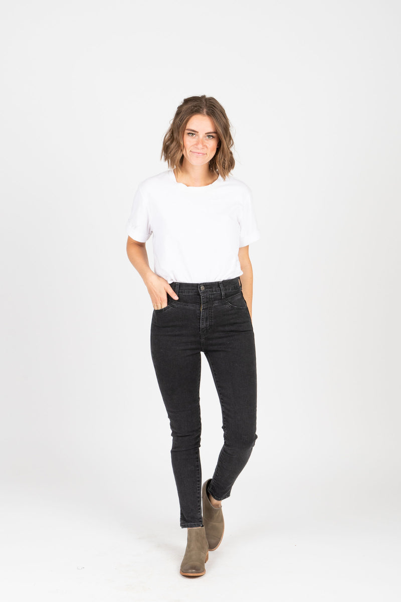 Levi's: Mile High Super Skinny Bootie Jeans in Aces High, studio shoot; farther away front view