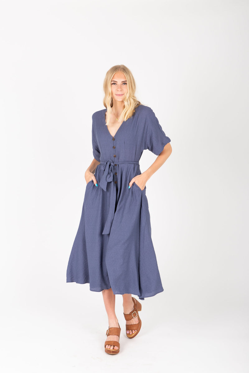 The Benton Button Midi Dress in Indigo, studio shoot; front view