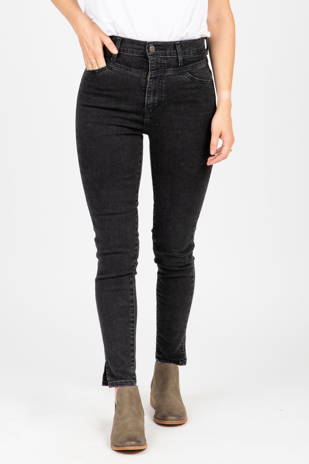 Levi's: Mile High Super Skinny Bootie Jeans in Aces High, studio shoot; front view