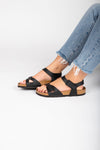 Birkenstock: Rio Birko-Flor in Black (Regular Fit)