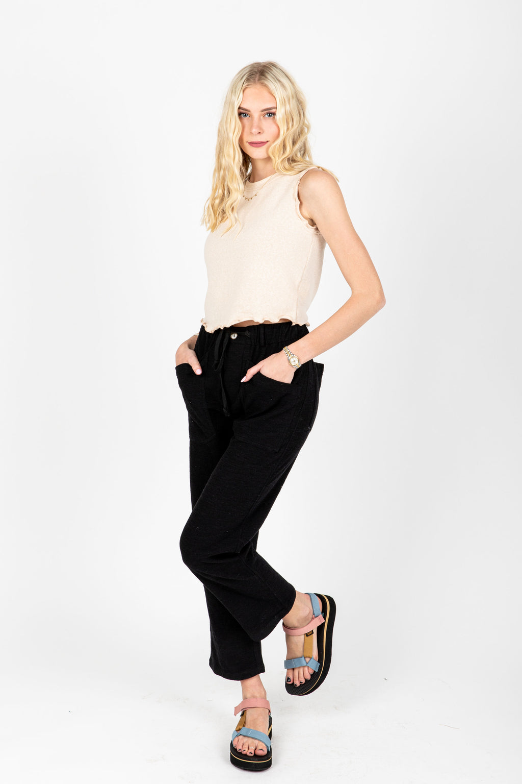 The Joe Knit Trouser in Black, studio shoot; front view