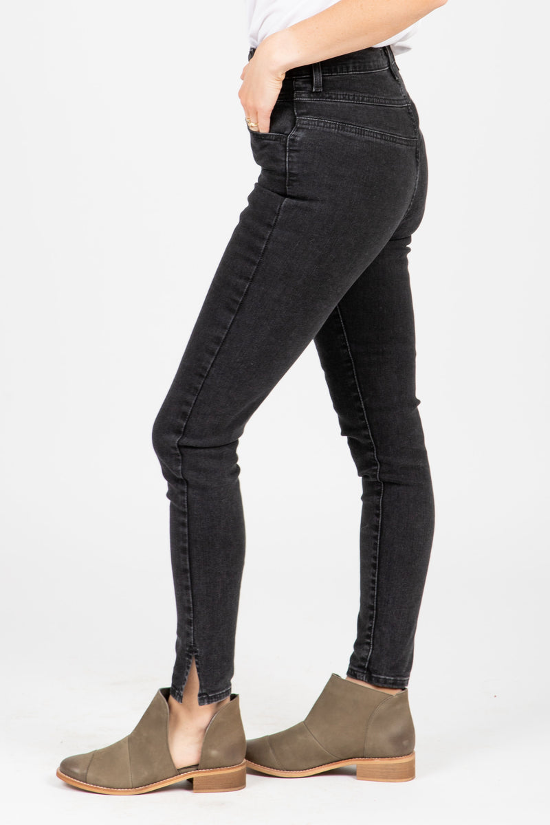 Levi's: Mile High Super Skinny Bootie Jeans in Aces High, studio shoot; side view