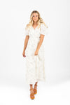 The Merrion Mixed Floral Wrap Dress in Ivory