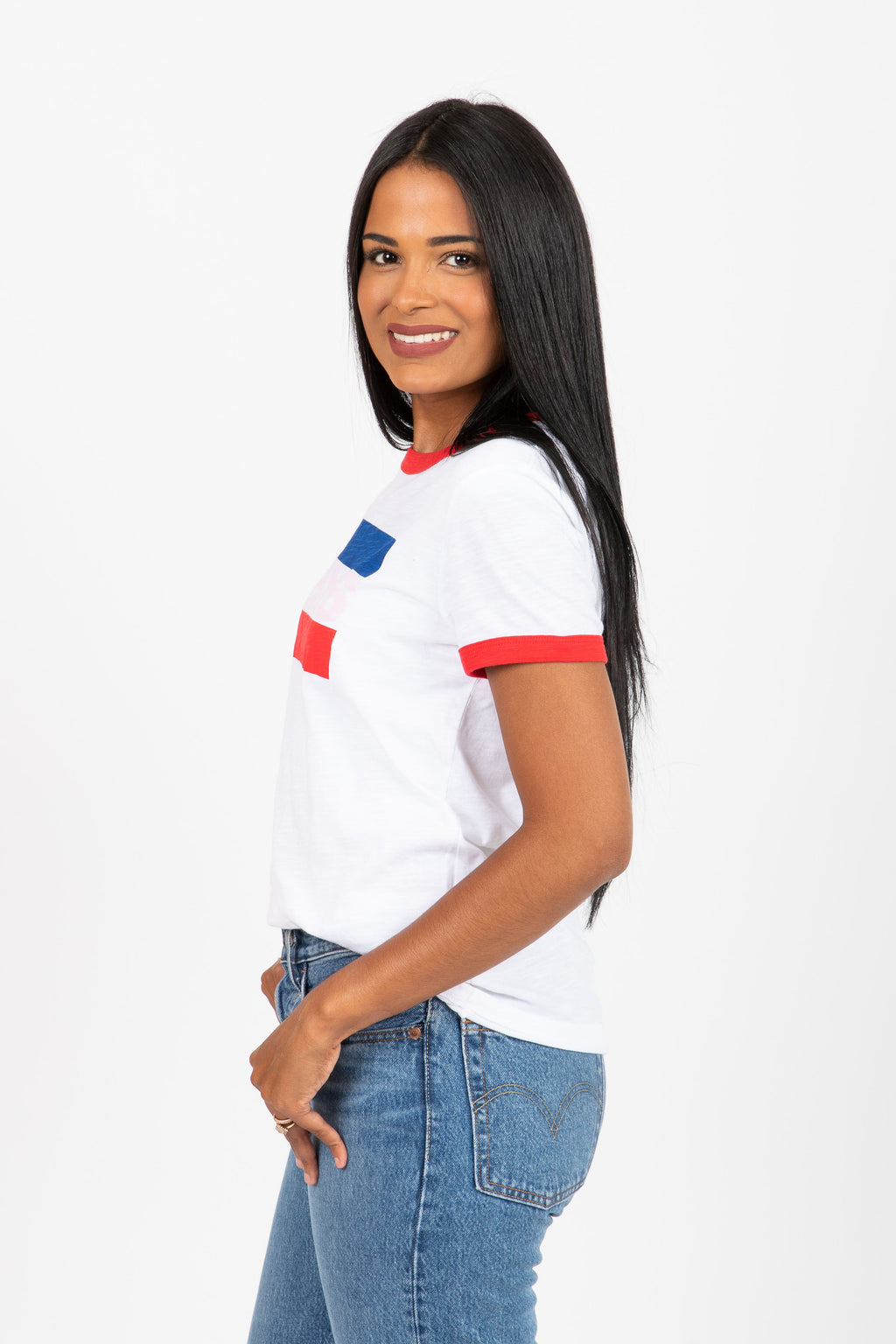 Levi's: Perfect Ringer Tee Shirt in White + Brilliant Red