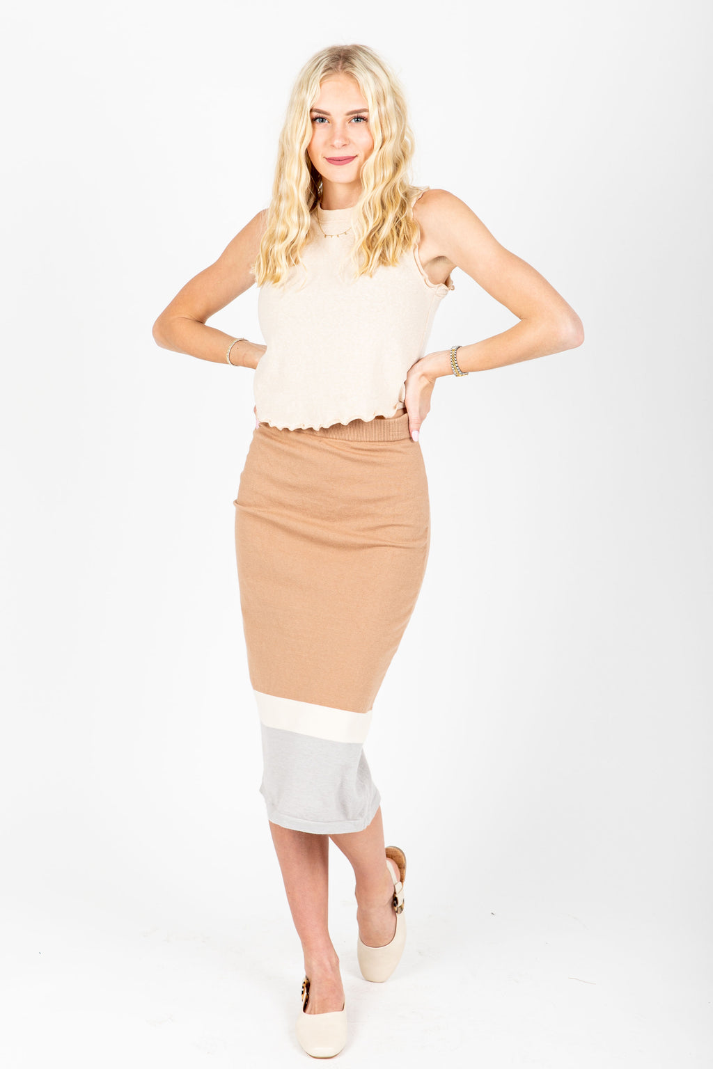 The Ross Striped Knit Skirt in Taupe, studio shoot; front view