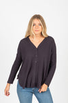 The Huron Waffle Tie Front Blouse in Charcoal, studio shoot; front view
