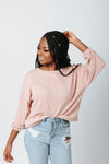 The Lizzie Knit Sweater in Dusty Pink, studio shoot; front view