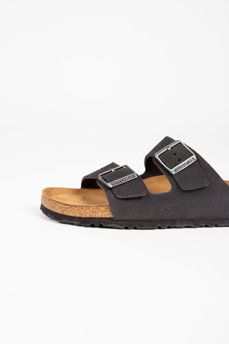 Birkenstock: Arizona Suede Leather Soft Footbed in Velvet Gray (Narrow Fit)