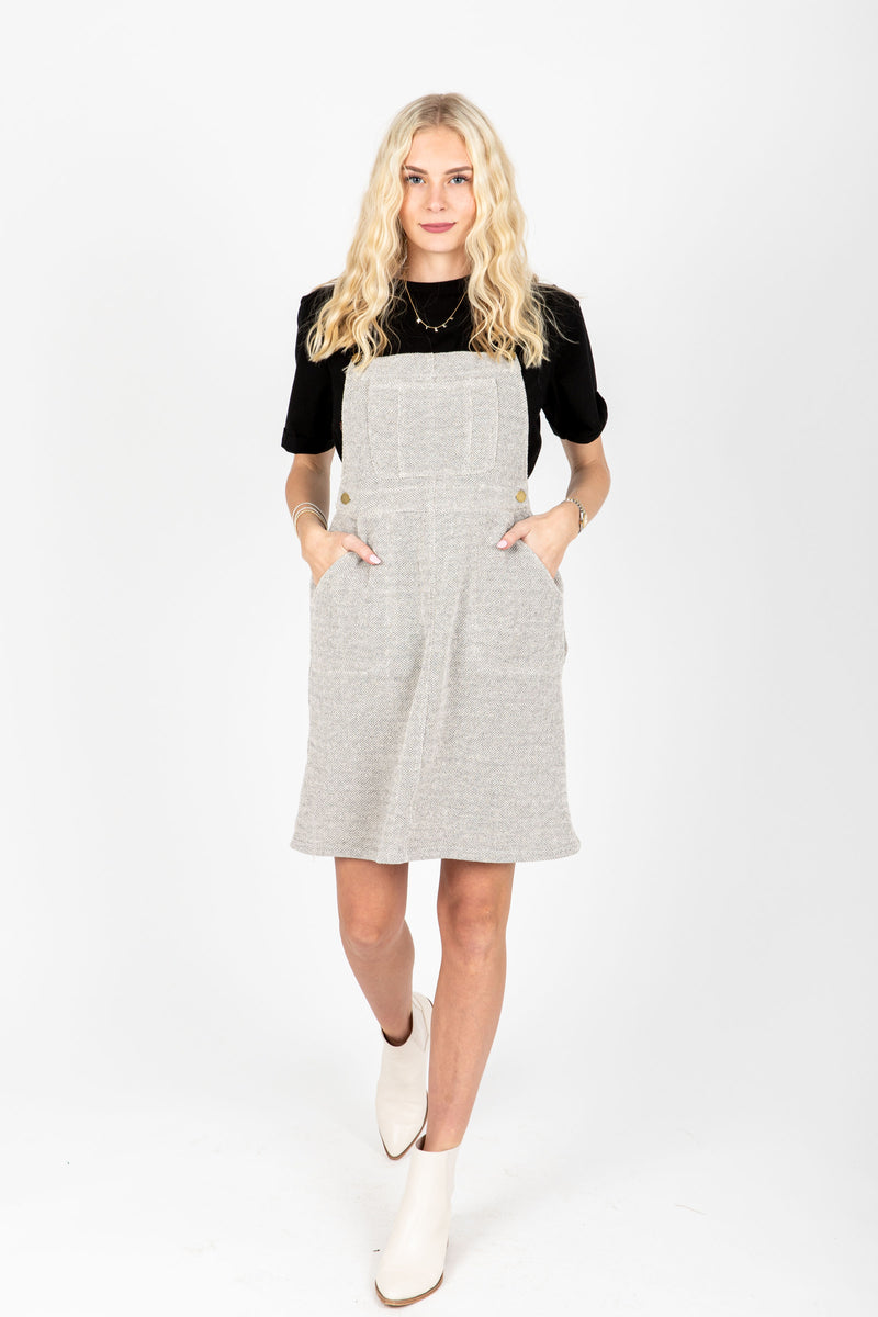 The Addie Knit Jumper Dress in Grey, studio shoot; front view