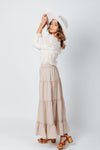 The Jackson Tiered Skirt in Khaki, studio shoot; side view