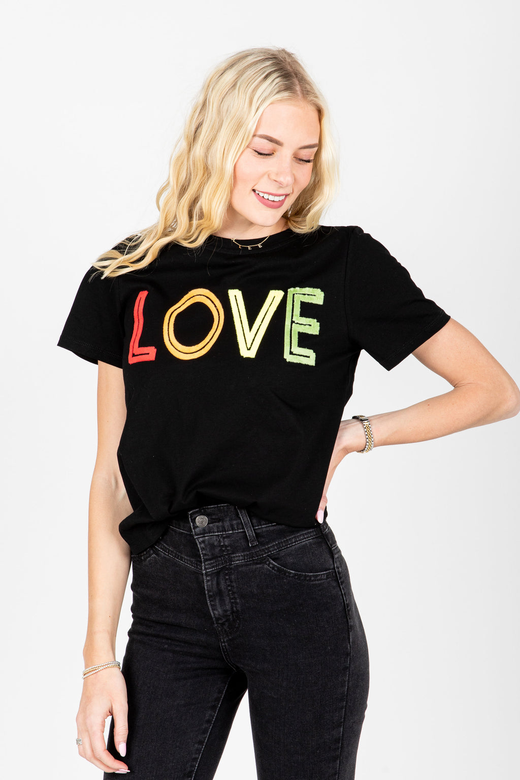 The Love Graphic Tee in Black, studio shoot; front view