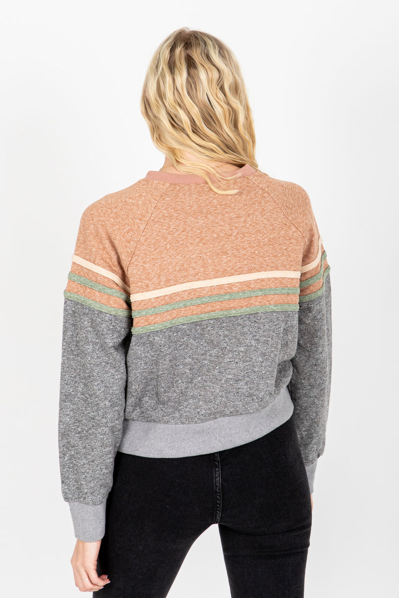 The Dylan Striped Sweatshirt in Grey, studio shoot; back view