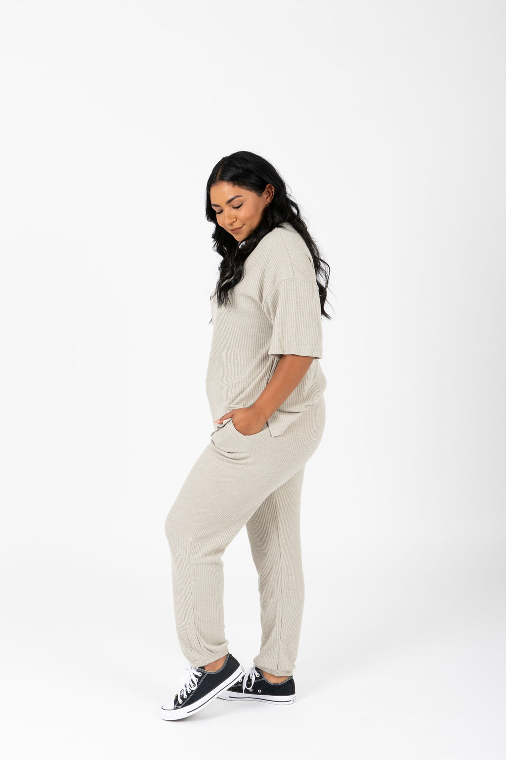 The Dale Cozy Ribbed Set in Faded Olive, studio shoot; side view