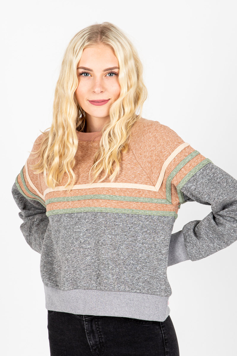 The Dylan Striped Sweatshirt in Grey, studio shoot; front view
