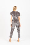 Piper & Scoot: The Bianca Cinch Velvet Jumpsuit in Slate