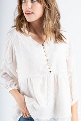The Swan Patterned Peplum Blouse in White