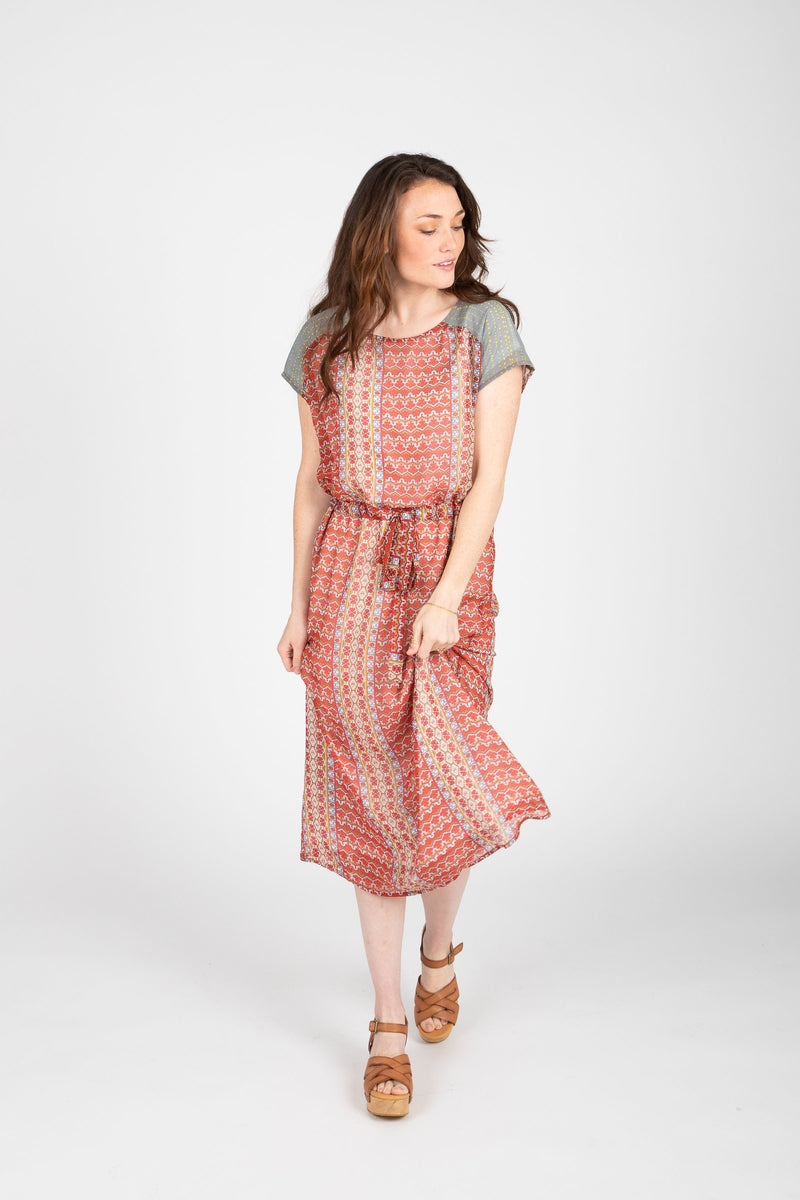 Piper & Scoot: The Sydney Contrast Patterned Dress in Red