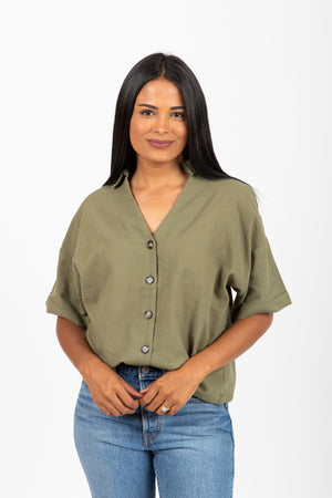 The Bennett Button Blouse in Olive