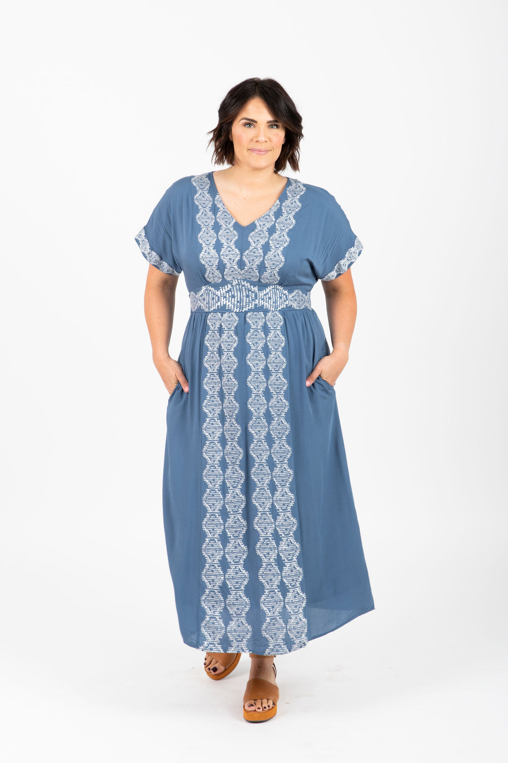 Piper & Scoot: The Nina Embroidered Midi Dress in Blue