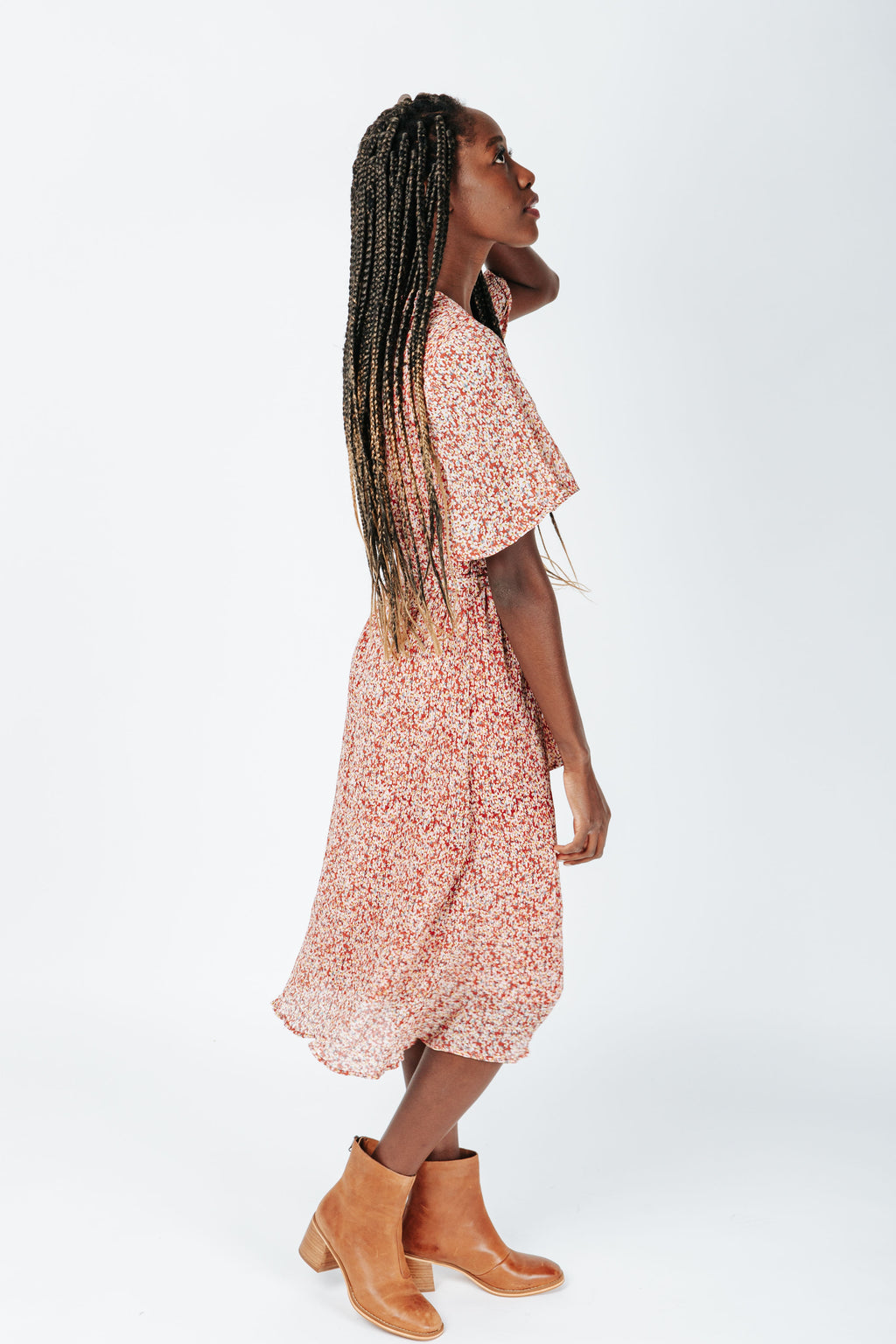 The April Floral Tie Dress in Pink, studio shoot; side view